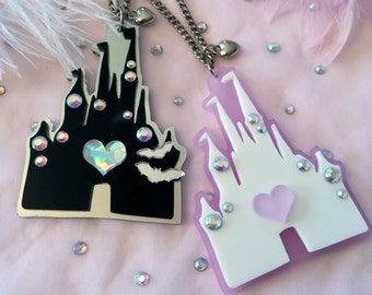 Pastel or Dark Castle Acrylic Necklace