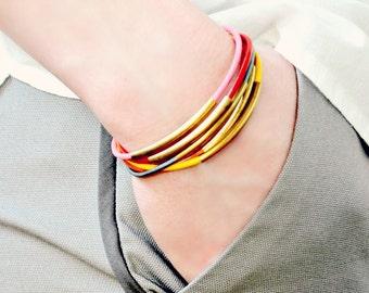 Women's leather bracelet, leather bracelet, leather wrap bracelet, colorful bracelet, boho leather wrap bracelet, leather jewelry, No.2
