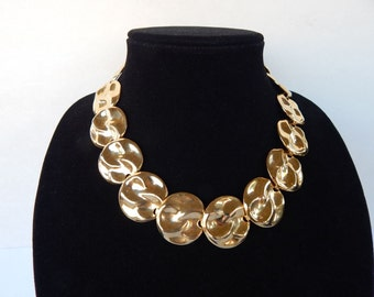 Vintage Gold Tone Large Hammered Round Disc Necklace 1980s SALE