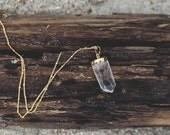 Crystal Quartz Necklace. Long Gold Chain.