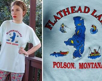Flathead LAKE 1980's Vintage Baby Blue Souvenir T Shirt // Polson MONTANA // size XL Large