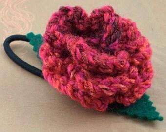 Crocheted Rose Ponytail Holder or Bracelet - Red Swirl (SWG-HP-ZZ06)