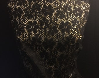 Black Floral  Lace Fabric 1 Yard