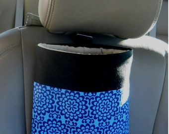 Auto Trash Bag, Car Litter Bag, Amy Butler Wallflower Blue