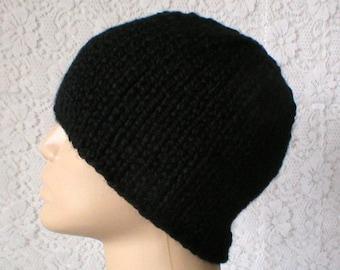 Black beanie hat, skull cap, black hat, winter toque, knit hat, ski snowboard, skateboard, biker runner hiker, chemo cap, mens womens hat