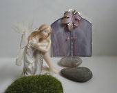 SALE, Fairy Door, Garden Sculpture, Outdoor Garden Art, Indoor Home Decor, Stained Glass, Fairy Garden Accessories, Terrarium Decor, Pink