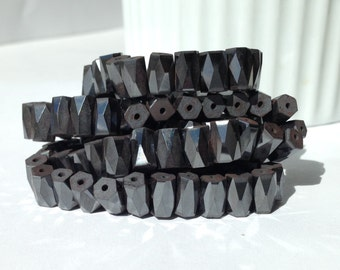50 Magnetic Hematite beads, bead strand, faceted hematite, barrel beads,  4 mm x 7 mm wholesale beads