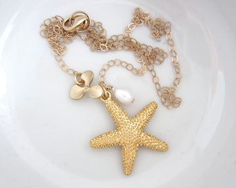 Gold beach jewelry, gold starfish necklace, beach wedding jewelry, orchid jewelry, gold filled necklace, resort jewelry, pendant necklace