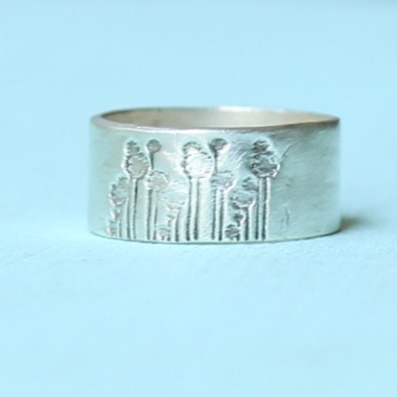 DANDELION unisex ring, wide band, eco-friendly silver, by Chocolate and Steel