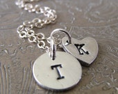 Petite Silver Initial Necklace, Heart and Circle Personalized Jewelry, Initial Pendant, Hand Stamped, Rustic, Charm Size 10mm
