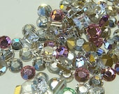 Pink Clear MIX (310) Square & Flat Back Rhinestones .5  half ounce Vintage Glass Silver Foil Back jc fbmixpc MoRE AVAlLABLE