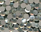 CLEAR 4 mm Flat Back Rhinestones (100) Vintage Glass Crystal Faceted Silver Foil Back jc clfbrd4 MoRE AVAILABLE