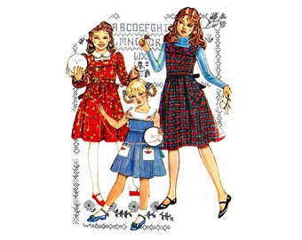 1980s Girls Dress Jumper Simplicity 5153 Vintage Sewing Pattern Cinderella Childrens Peter Pan Collar Ruffles Dress Pattern Size 6 Uncut