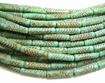 Czech Picasso Beads 18x4mm Turquoise Picasso Basket Weave Tube Beads 11pcs (4235) Czech Glass Beads