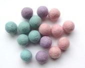 16 Felt Balls - Pastels - Destash
