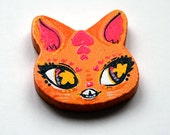 Orange Cat Head Charm Necklace or Pin