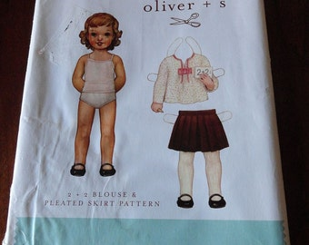 Oliver and S Childs Blouse and Pleated Skirt Sewing Pattern UNCUT Sizes 6M to 3T