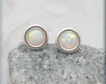 Small White Opal Earrings, Post Earrings, Studs, October Birthstone, Sterling Silver, Gemstone Jewelry, Cabochon, Opal Jewelry (SE619)
