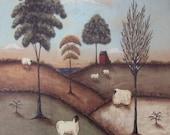 Art Print, Religious, vintage inspired. To everything there is a season. Ecclesiastes 3.1 Bible Verse. pastoral folk art seasonal landscape