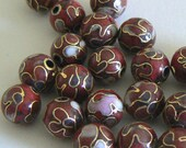 SALE 10 8.5mm Handmade Cloisonne Beads Gold Plated Round Deep Red