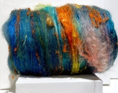 "fiber art batt, felting wool spinning fiber ""Under the Sea"" PHAT FIBER edition, Yellow coral salmon orange lemon turquoise green blue roving"