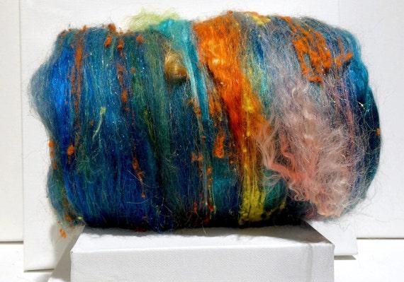 "fiber art batt, felting wool spinning fiber ""Under the Sea"" PHAT FIBER edition, Yellow coral salmon orange lemon turquoise green blue roving"