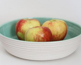 Large Serving Bowl - Large Groove Serving Bowl in Mint Green - Porcelain Bowl