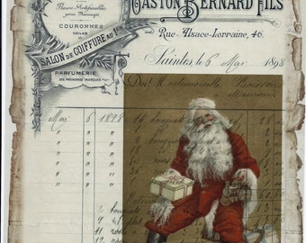 Santa Claus bag of toys French Ledger *DIGITAL DOWNLOAD*WOW*300 dpi*Wonderful, great for cards, decoupage, collage,sewing and so much more
