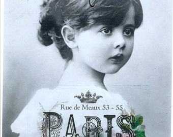 French french girl on paris collage*Two 5x7 fabric blocks. Quilting, sewing,collage,decoupage.Gorgeous