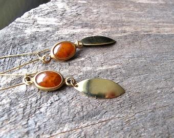 Gold Dangle Earrings - Long Earrings - Tortois Charm Earrings - Boho Jewelry