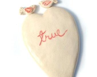 True / Sweet Tone Ceramic Love Birds Heart Wall Hanging