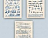 Nautical Art, Sailor Knots Print,  Sail Row boats, Passenger ship, Prints & Poster, Decorative arts, Sailing club, Sail center,  11x14 set 3