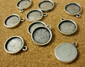 Mini Circle Single Loop Bezel Frame Trays - Set of Ten -  Antiqued Silver Finish