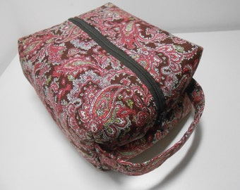 Dopp Kit or Cosmetic Pouch Pink and Brown Paisley