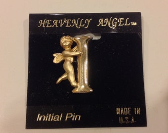 Vintage oldstock Goldtone heavenly angel  guardian angel plated  I initial pin