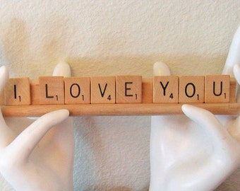 Scrabble Saying I LOVE YOU Display Sign