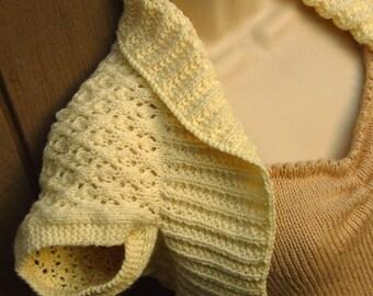 Ivory Knit Shrug with Fleurette Lace  Size:Large cream off-white bolero shrug vest sweater prom evening wedding bridal formal knit