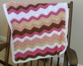 Baby Chevron Blanket Pink, Brown and White Ready to Ship