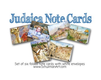 Judaica art blank Note Card Set   all you need for any Jewish Occasion   hannukah hanukkah gift idea