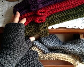 Long Fingerless Gloves or Arm Warmers Custom Colors Crochet Fingerless Gloves