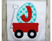 Easter Wagon ~ Egg in Wagon ~ Initial Applique ~ Red ~ Aqua ~ Tshirt ~ Tee ~ Bodysuit ~ Personalized ~ Monogrammed ~ Applique ~ Easter
