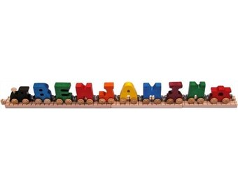 Children's Wooden Name Train (8 Letters): Primary or Pastel Colors