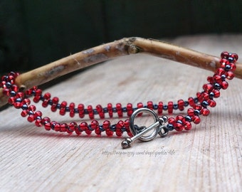 Bracelet, Red Seed bead, silver, handmade fashion jewellery, lobster clasp