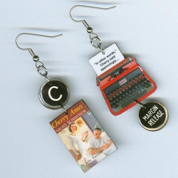 Cherry Ames Earrings Book Vintage Typewriter Night Supervisor NURSE