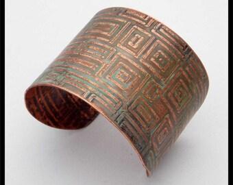 ANCIENT GEO - Handforged Geometrics Patinated Wide Copper Cuff Bracelet