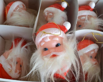 Vintage Santa Christmas Ornaments, Light Covers, Japan, Set of 10, Original Box,