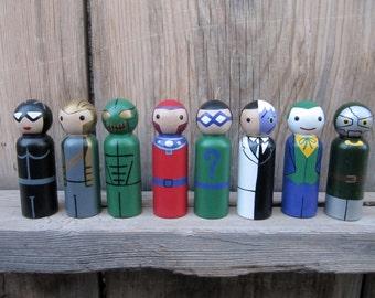 Villains for Superhero Peg People - Set of 8 Wooden Hand Painted peg dolls, superhero toy, wood superhero toy,