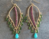 Gemstone earrings chrome diopside garnet turquoise