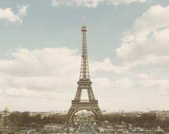 """Paris Skyline, Paris Photography, Eiffel Tower Print, Paris Photos, Pastel Paris Art Print, Fine Art Photograph """"Elle"""""""