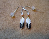 Native  American style tiny quill beaded Eagle Feather earrings